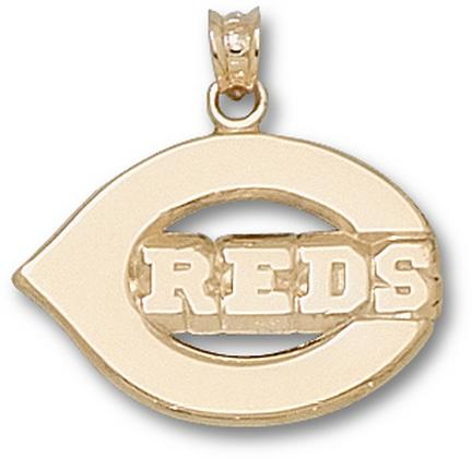 Cincinnati Reds Polished 'C Reds' 5/8in Pendant - 14KT Gold Jewelry