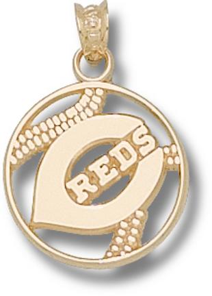 Cincinnati Reds 'C Reds' Pierced Baseball Pendant - 10KT Gold Jewelry