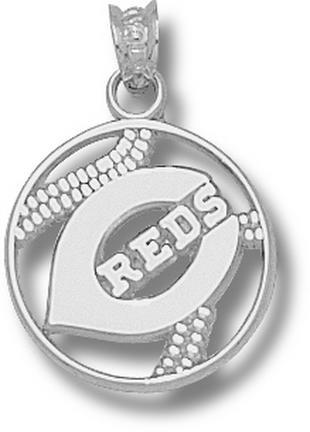 Cincinnati Reds 'C Reds' Pierced Baseball Pendant - Sterling Silver Jewelry