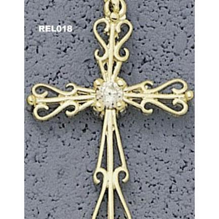 Filigree Cross Pendant with 4 mm Cubic Zirconia - 10KT Gold Jewelry