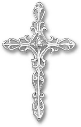 Cross Pendant with .03 Cubic Zirconia (Hidden Bail) - Sterling Silver Jewelry