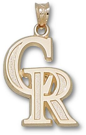 Colorado Rockies 'CR' 3/4in Pendant - 14KT Gold Jewelry