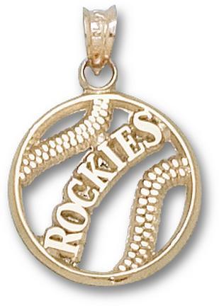 Colorado Rockies Pierced 'Rockies Baseball' Pendant - 14KT Gold Jewelry
