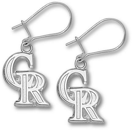Colorado Rockies 9/16in 'CR' Dangle Earrings - Sterling Silver Jewelry