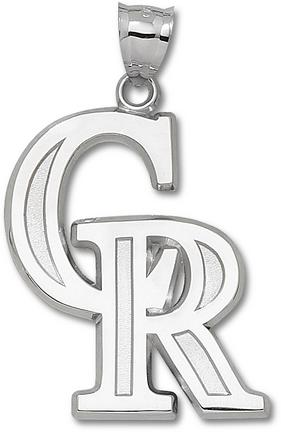 Colorado Rockies Giant 1 1/2in W x 1 7/8in H 'CR' Pendant - Sterling Silver Jewelry