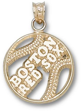 Boston Red Sox Pierced Boston Red Sox Baseball Pendant - 14KT Gold Jewelry