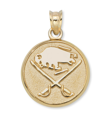 Buffalo Sabres Buffalo and Crossed Swords 3/8in Round Logo Pendant - 14KT Gold Jewelry