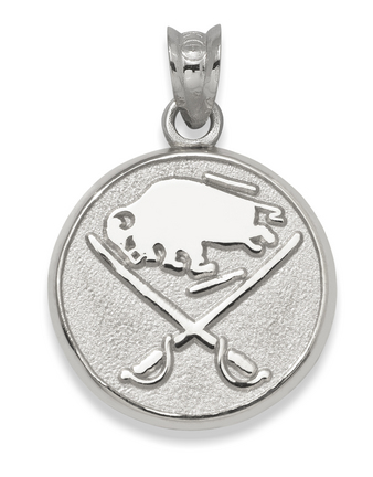 Buffalo Sabres Buffalo and Crossed Swords 3/8in Round Logo Pendant - Sterling Silver Jewelry
