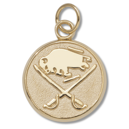 Buffalo Sabres Buffalo and Crossed Swords 5/8in Round Logo Charm - 10KT Gold Jewelry