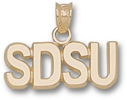 San Diego State Aztecs Block SDSU 1/4 Pendant - 14KT Gold Jewelry