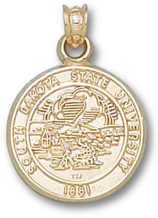 South Dakota State Jackrabbits Seal Pendant - 14KT Gold Jewelry