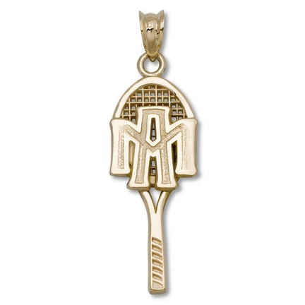 Texas A & M Aggies ATM Tennis Racquet Pendant - 14KT Gold Jewelry