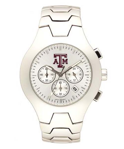 Texas A & M Aggies NCAA Men's Hall of Fame Watch with Stainless Steel Bracelet