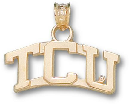 Texas Christian Horned Frogs Curved TCU 1/4 Pendant - 14KT Gold Jewelry