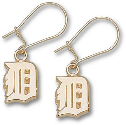 Detroit Tigers 3/8 in 'D' Dangle Earrings - 10KT Gold Jewelry
