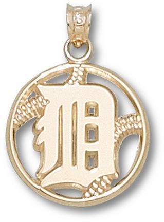 Detroit Tigers 'D' Pierced Baseball Pendant - 10KT Gold Jewelry