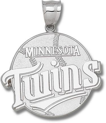 Minnesota Twins Giant 1 3/4 W x 1 1/2 H Twins Club Logo Pendant - Sterling S..