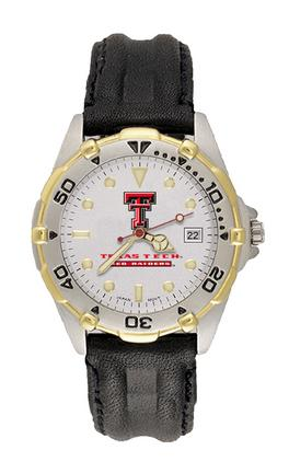 """Texas Tech Red Raiders """"TT"""" All Star Watch with Leather Band - Men's"""
