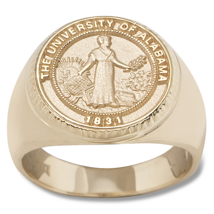 Alabama Crimson Tide Seal Mens Ring Size 10 14  14KT Gold Jewelry
