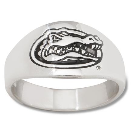Florida Gators Logo Mens Enamel Sterling Silver Band Ring (size 11)