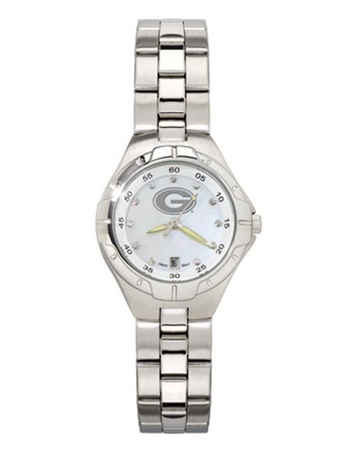 Georgia Bulldogs 'G' Woman's Bracelet Watch with Mother of Pearl Dial