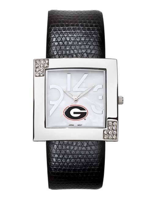 Georgia Bulldogs Women's Glamour Watch with Leather Strap