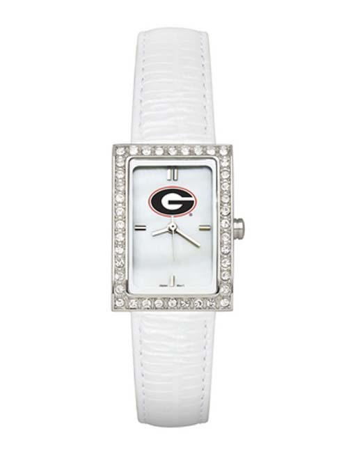 Georgia Bulldogs Women's Allure Watch with White Leather Strap