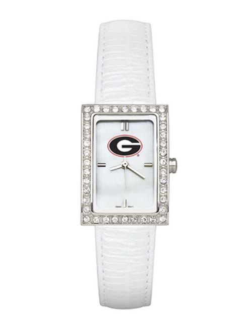 Georgia Bulldogs Women's Allure Watch with White Leather Strap