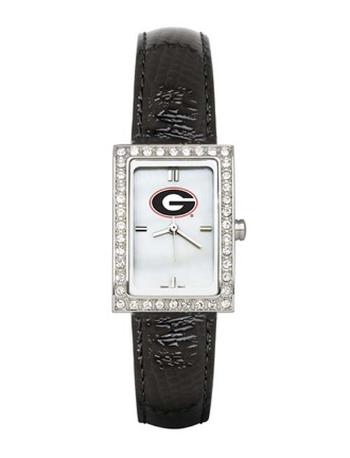 Georgia Bulldogs Women's Allure Watch with Black Leather Strap