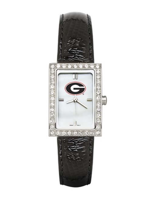 Georgia Bulldogs Women's Allure Watch with Black Leather Strap