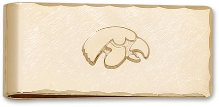 """Iowa Hawkeyes Gold Plated """"Tiger Hawk"""" on Gold Plated Money Clip"""