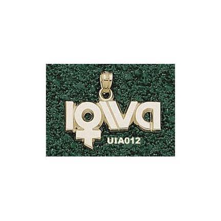 Iowa Hawkeyes Lady's Sports Logo Pendant - 14KT Gold Jewelry