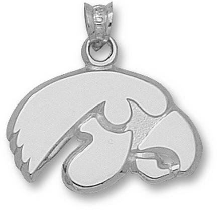 "Iowa Hawkeyes 1/2"" ""Tiger Hawk"" Pendant - Sterling Silver Jewelry"