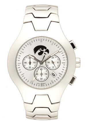 Iowa Hawkeyes NCAA Men's Hall of Fame Watch with Stainless Steel Bracelet