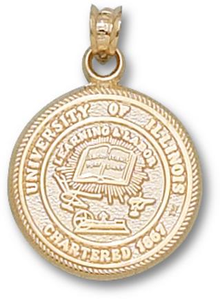 "Illinois Fighting Illini ""Seal"" Pendant - Gold Plated Jewelry"