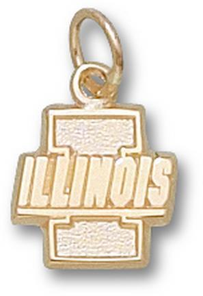 "Illinois Fighting Illini New ""I"" ""Illinois"" 7/16"" Lapel Pin - Sterling Silver Jewelry"