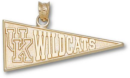 """Kentucky Wildcats """"UK and Wildcat"""" Pennant Lapel Pin - Sterling Silver Jewelry"""
