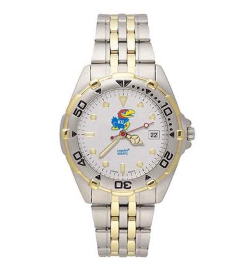 Kansas Jayhawks Men's All Star Watch with Stainless Steel Band