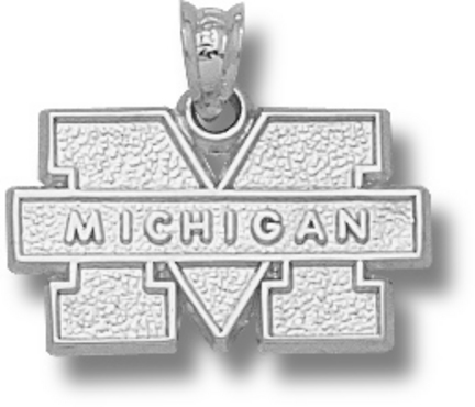 "Michigan Wolverines ""M Michigan"" Pendant - Sterling Silver Jewelry"