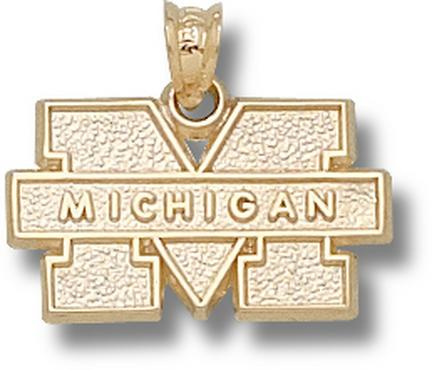 "Michigan Wolverines Block ""M"" Lapel Pin - 14KT Gold Jewelry"