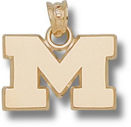 "Michigan Wolverines ""M"" Polished 1/2"" Lapel Pin - 10KT Gold Jewelry"