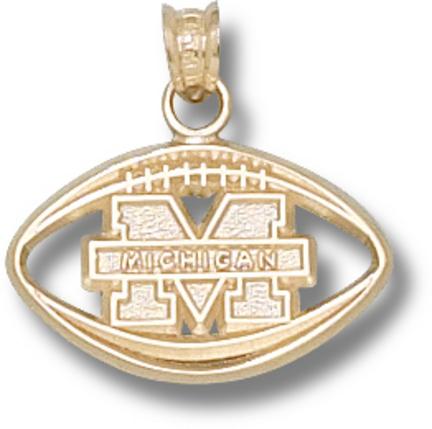 "Image of ""Michigan Wolverines """"M Pierced Football"""" Pendant - 14KT Gold Jewelry"""