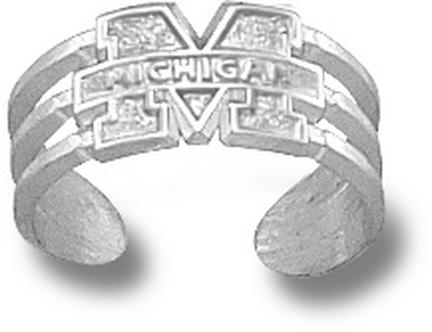 "Michigan Wolverines ""M Michigan"" Toe Ring - Sterling Silver Jewelry"