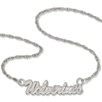 """Michigan Wolverines 18"""" """"Wolverines"""" Script Necklace - Sterling Silver Jewelry"""