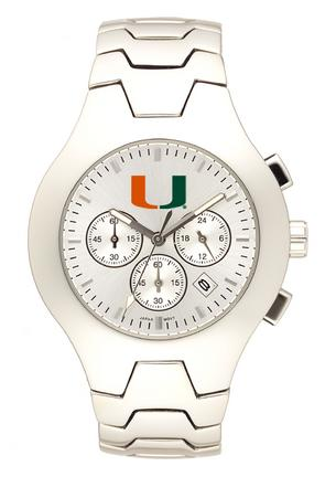 Miami Hurricanes NCAA Men's Hall of Fame Watch with Stainless Steel Bracelet