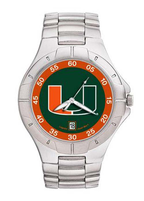 Miami Hurricanes UM NCAA Mens Pro II Watch with Stainless Steel Bracelet
