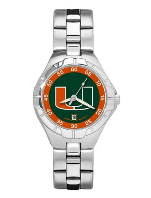 Miami Hurricanes Woman's Pro II Watch with Stainless Steel Bracelet