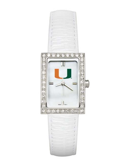 Miami Hurricanes Women's Allure Watch with White Leather Strap
