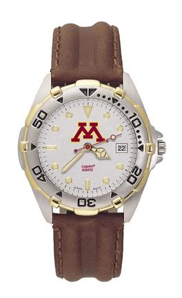 Minnesota Golden Gophers NCAA Men's All Star Watch with Leather Band