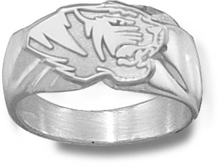 """Missouri Tigers """"Tiger Head"""" 7/16"""" Men's Ring - Sterling Silver Jewelry (Size 10 1/2)"""